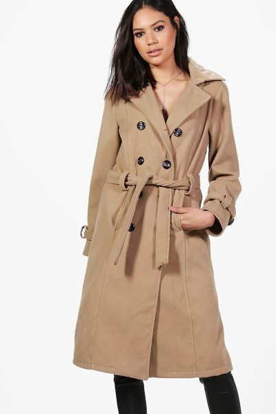 Boohoo Elizabeth Double Breasted Belted Wool Coat in camel - Wrap up in the latest coats and jackets and get...