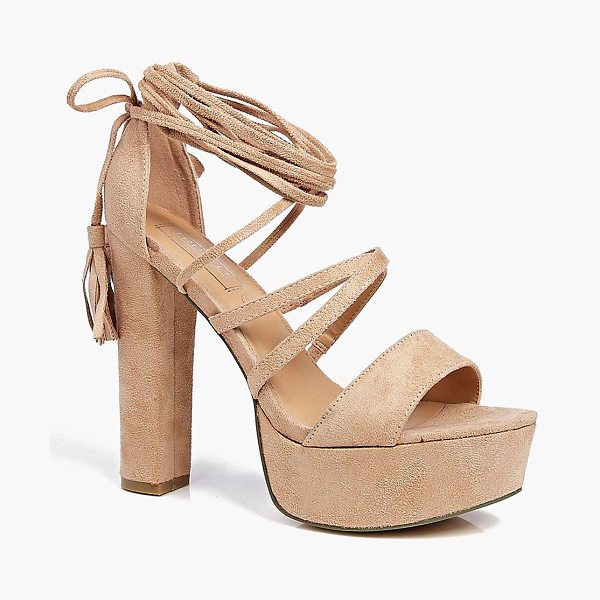 BOOHOO Elizabeth Platform Ghillie Tassel Tie in nude - When it comes to heels, go high or go home!Send your...