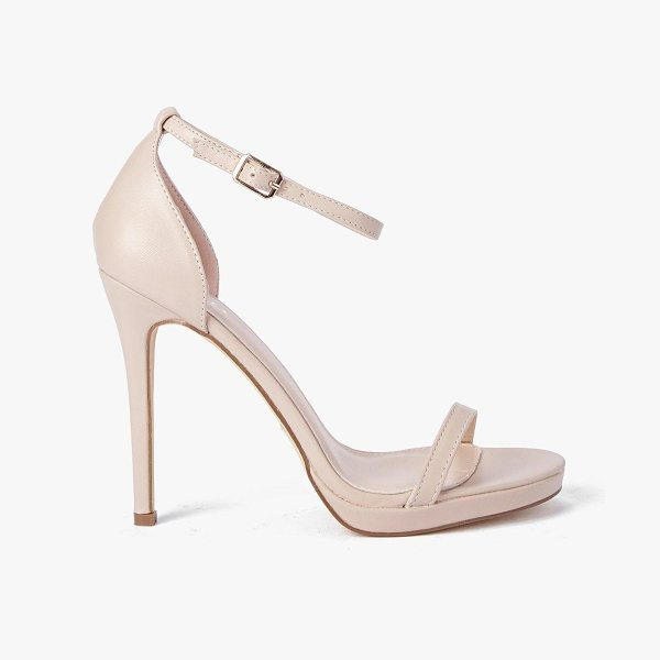 Boohoo Single Platform Two Part Heels in nude
