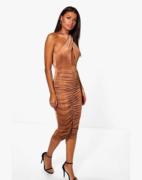 Boohoo Elizabeth Slinky Wrap Rouched Midi Dress in bronze - Dresses are the most-wanted wardrobe item for...