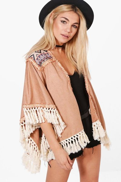 Boohoo Ella Boutique Embroidered Tassel Suedette Cape in camel - Wrap up in the latest coats and jackets and get...