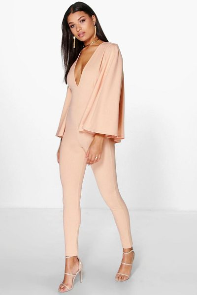 Boohoo Ella Cape Style Skinny Leg Jumpsuit in nude - Jump start your new season wardrobe with the always chic...