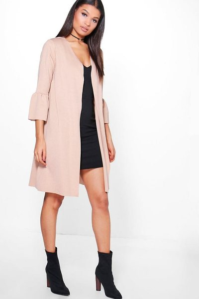 Boohoo Ella Frill Sleeve Duster in stone - Wrap up in the latest coats and jackets and get...