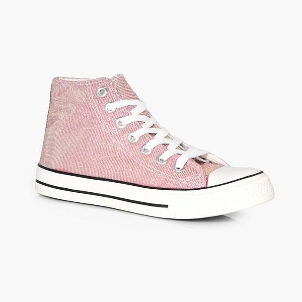Boohoo Ella Metallic Canvas High Top in pink - We'll make sure your shoes keep you one stylish step...