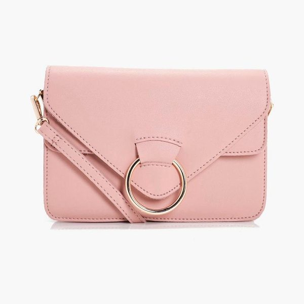 Boohoo Ella Ring Detail Cross Body in pink