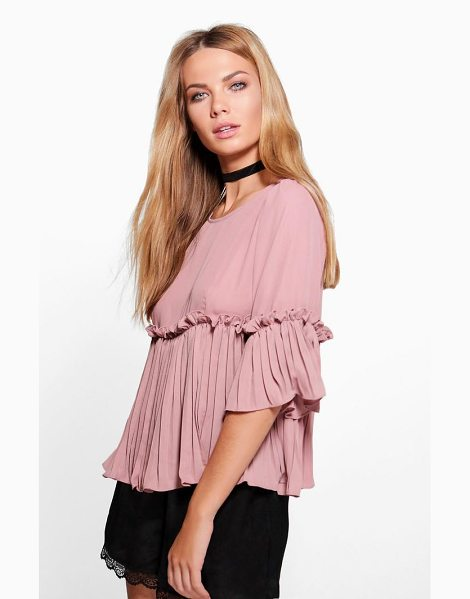 Boohoo Ruffle Pleated Woven Top in rose - Steal the style top spot in a statement separate from...