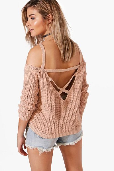 Boohoo Ella Strap Boucle & Shoulder Jumper in nude - Nail new season knitwear in the jumpers and cardigans...