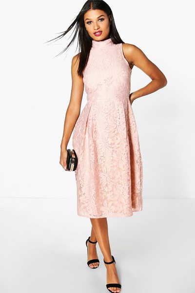 Boohoo Elle Embroidered High Neck Midi Skater Dress in blush - Every girl's wardrobe should include a skater dress. A...