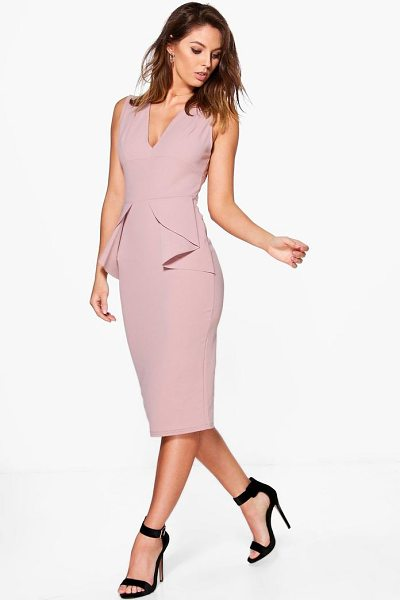 Boohoo Ellie Fold Peplum Waist Formal Midi Dress in mink - Dresses are the most-wanted wardrobe item for...