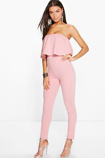 BOOHOO Ellie Frill Bandeau Slim Leg Jumpsuit in peach - Jump start your new season wardrobe with the always chic...