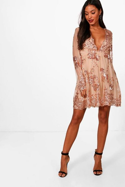 Boohoo Ellie Sequin and Mesh Long Sleeve Skater Dress in gold - Every girl's wardrobe should include a skater dress. A...