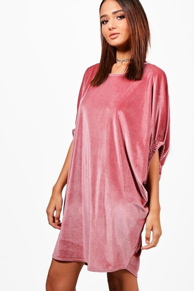 Boohoo Velvet Elasticated Sleeve Shift Dress in dusky pink - Dresses are the most-wanted wardrobe item for...