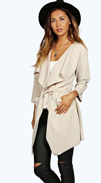 Boohoo Eloise Belted Duster in beige - Elongate your silhouette and add a sophisticated feel to...