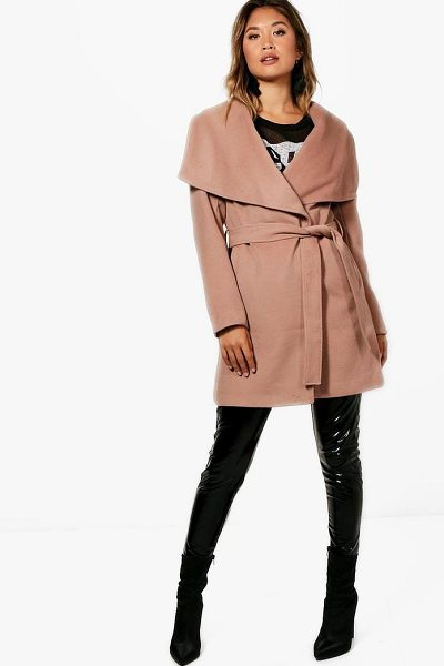 Boohoo Belted Waterfall Coat in camel - Wrap up in the latest coats and jackets and get...