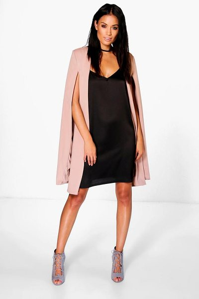 Boohoo Eloise Longline Cape in tan - Wrap up in the latest coats and jackets and get...