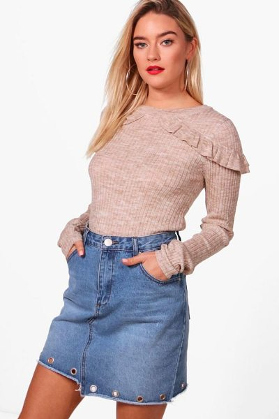 Boohoo Eloise Rib Jumper With Frill Shoulders in biscuit - Sweaters are a key piece for your casual wardrobe. Think...