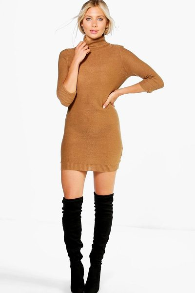 Boohoo Roll Sleeve Knitted Dress in camel - Nail new season knitwear in the jumpers and cardigans...