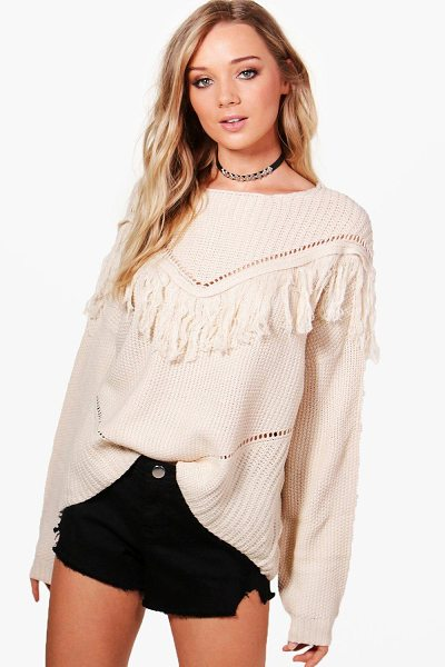 Boohoo Eloise Tassel Yoke Festival Jumper in cream - Nail new season knitwear in the jumpers and cardigans...