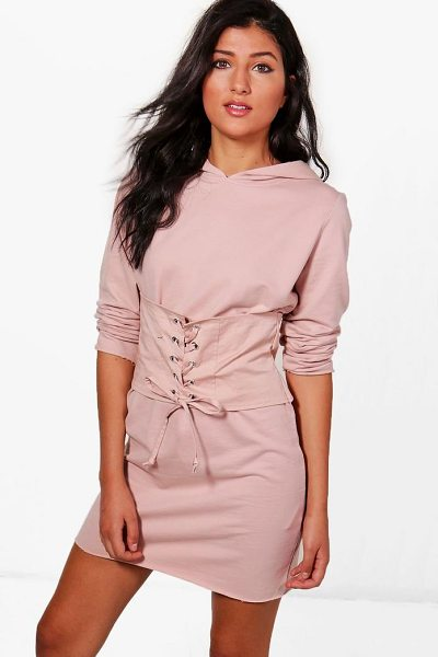 BOOHOO Elora Corset Hooded Sweat Dress - Dresses are the most-wanted wardrobe item for...