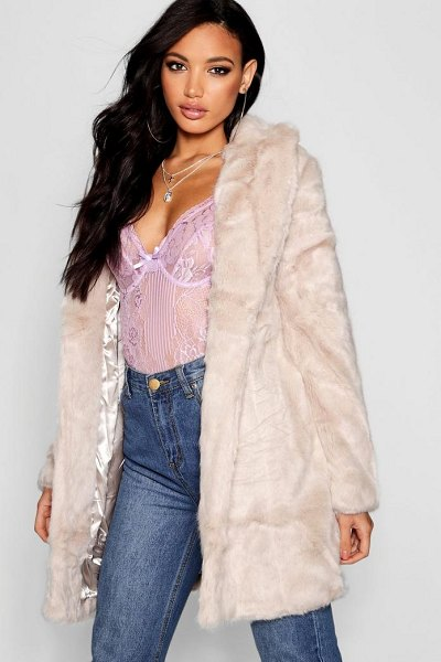 Boohoo Boutique Rever Collar Faux Fur Coat in natural - Wrap up in the latest coats and jackets and get...