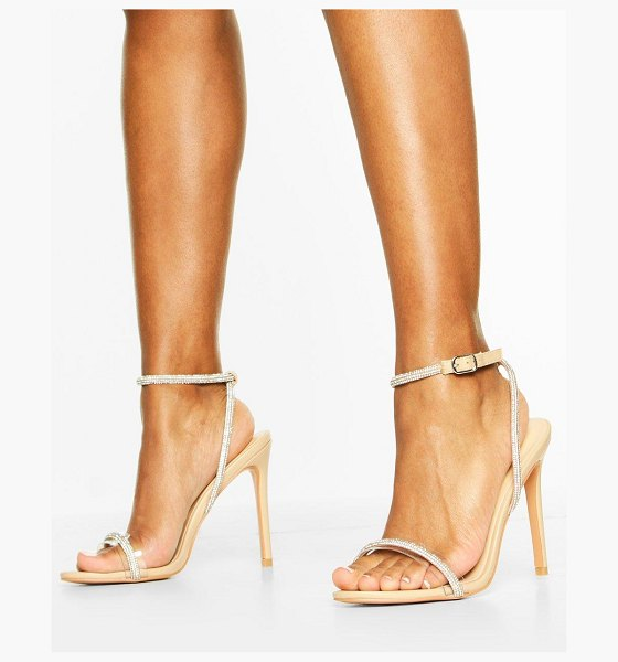 Boohoo Embellished Clear 2 Part Heels in nude