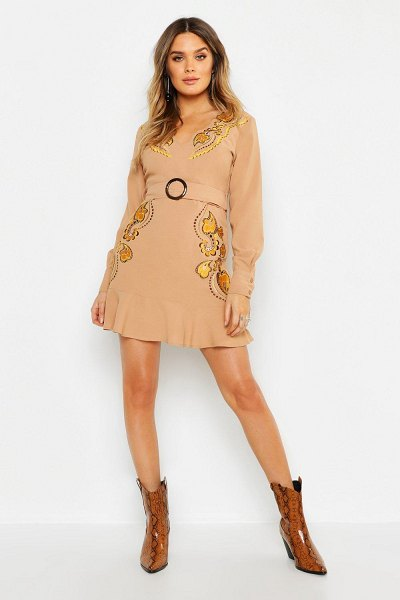 Boohoo Embroidered Belted Shift Dress in sand