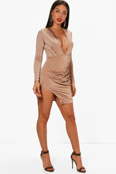 Boohoo Textured Wrap Detailing Bodycon Dress in stone - Dresses are the most-wanted wardrobe item for...