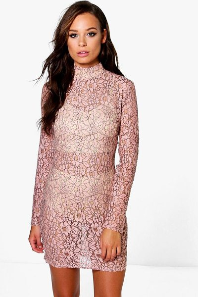 Boohoo Emiko High Neck All Over Lace Bodycon Dress in blush - Dresses are the most-wanted wardrobe item for...