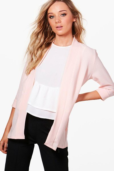 Boohoo Emilia Collarless Woven Blazer in nude - Wrap up in the latest coats and jackets and get...