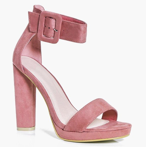 Boohoo Emilia Platform Cylinder Heel 2 Part in pink - We'll make sure your shoes keep you one stylish step...