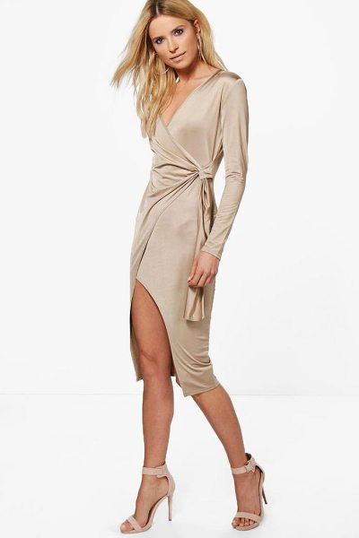 Boohoo Slinky Long Sleeve Wrap Midi Dress in rose - Dresses are the most-wanted wardrobe item for...