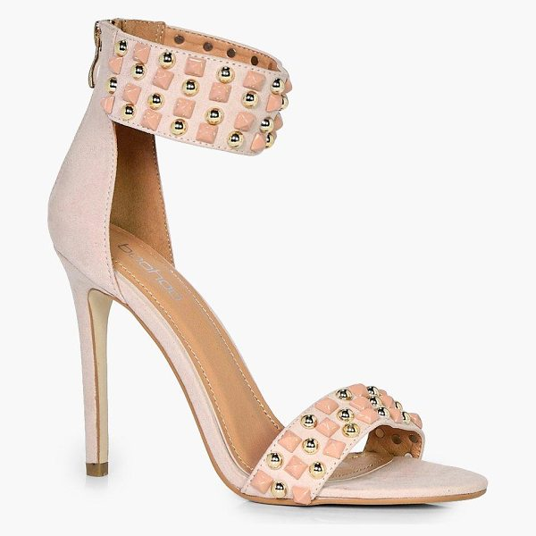 Boohoo Emily 2 Part Studded Heel in nude - We'll make sure your shoes keep you one stylish step...