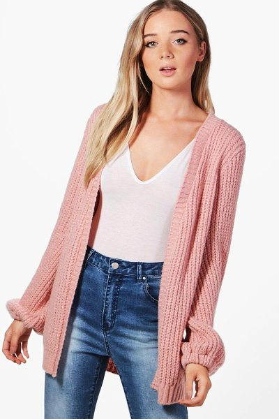 Boohoo Emily Blouson Sleeve Soft Knit Cardigan in blush - Nail new season knitwear in the jumpers and cardigans...