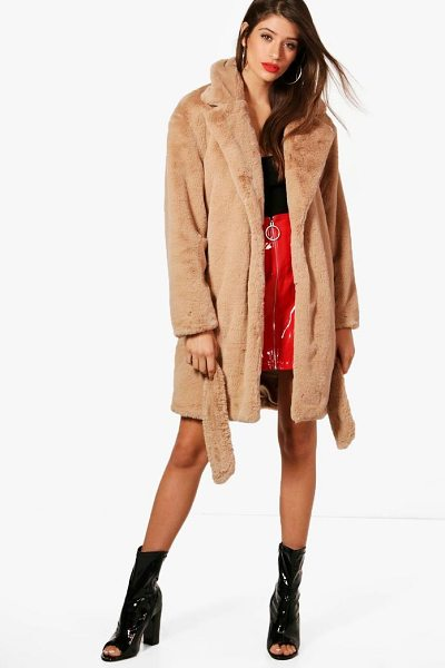 Boohoo Emily Boutique Belted Faux Fur Coat in camel - Wrap up in the latest coats and jackets and get...