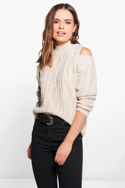 BOOHOO Emily Cable Knit Cold Shoulder Jumper - Emily Cable Knit Cold Shoulder Jumper stone