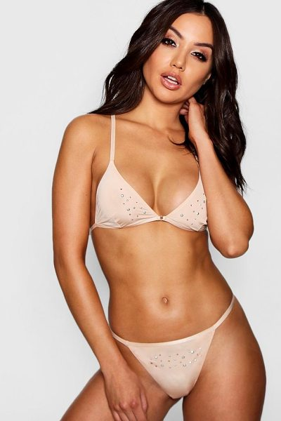 Boohoo Diamante Racerback Bralet in nude - Take nights in up a notch with our silky soft...
