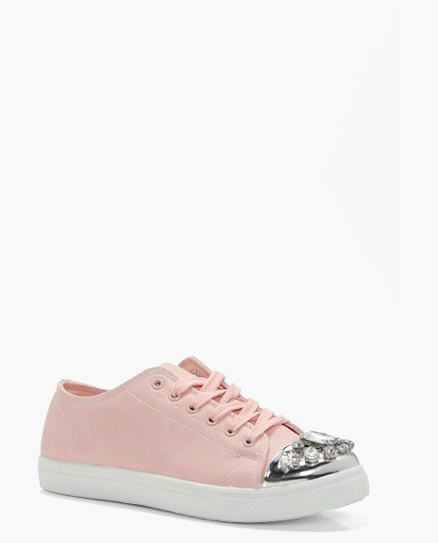 Boohoo Emily Embellished Toe Cap Trainer in blush - Emily Embellished Toe Cap Trainer blush