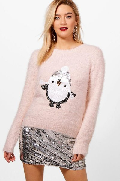 Boohoo Emily Fluffy Knit Sequin Penguin Christmas Jumper in pink - Nail new season knitwear in the jumpers and cardigans...