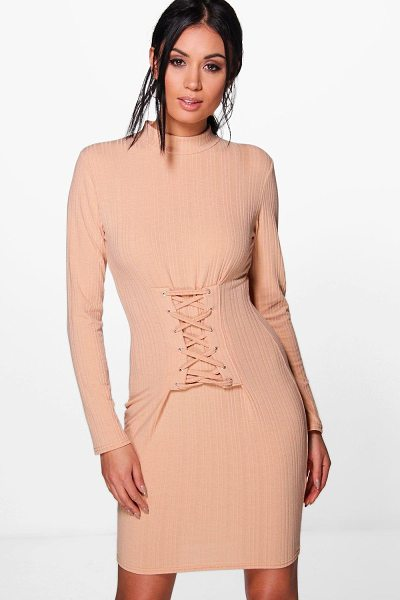 Boohoo Emily Lace Up Corset Rib Knit Dress in sand - Nail new season knitwear in the jumpers and cardigans...