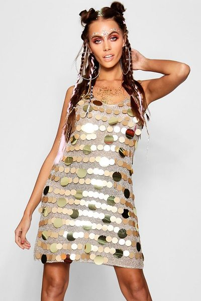 Boohoo Metallic Knitted Sequin Dress in gold - Nail new season knitwear in the jumpers and cardigans...