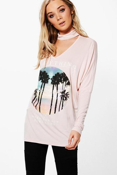 BOOHOO Emily Oversized Choker Printed Tee - Steal the style top spot in a statement separate from...