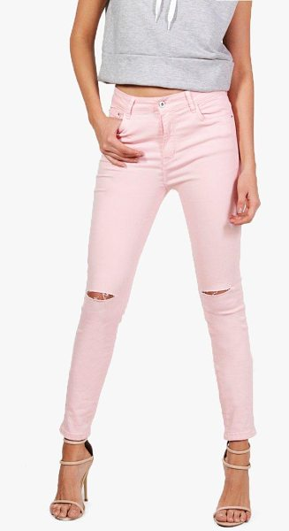 Boohoo Emily Pink Denim Rip Knee Skinny Jeans in pink - Jeans are the genius wear-with-anything wardrobe...
