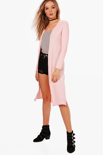 Boohoo Emily Rib Knit Side Split Maxi Cardigan in blush - Nail new season knitwear in the jumpers and cardigans...