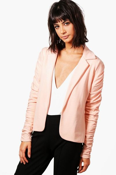 Boohoo Emily Ruched Sleeve Blazer in nude - Wrap up in the latest coats and jackets and get...