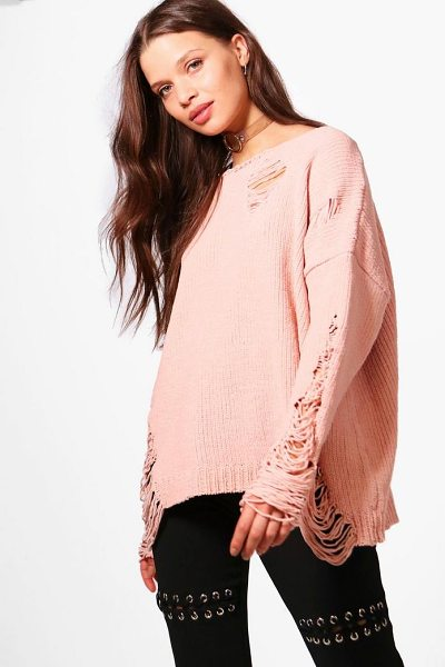 BOOHOO Emma Distressed Chenille Jumper - Nail new season knitwear in the jumpers and cardigans...