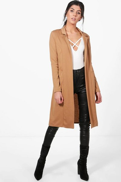 Boohoo Emma Duster Jacket in camel - Wrap up in the latest coats and jackets and get...