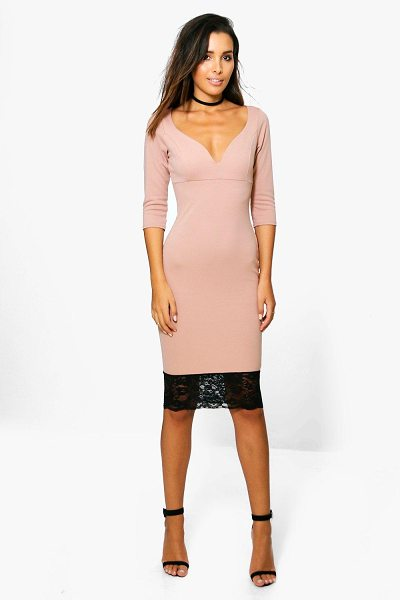 Boohoo Emma Formal Plunge Lace Hem Midi Dress in rose - Emma Formal Plunge Lace Hem Midi Dress rose