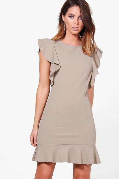 Boohoo Emma Frill Hem Dress in mocha - Dresses are the most-wanted wardrobe item for...