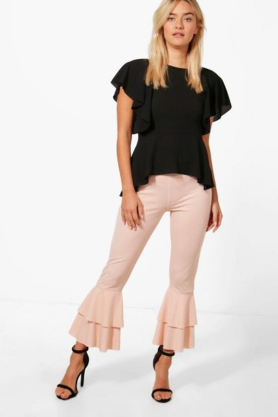 Boohoo Frill Hem Trouser in cream - Trousers are a more sophisticated alternative to...