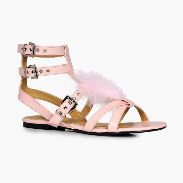 Boohoo Emma Fur Sandal in pink - We'll make sure your shoes keep you one stylish step...